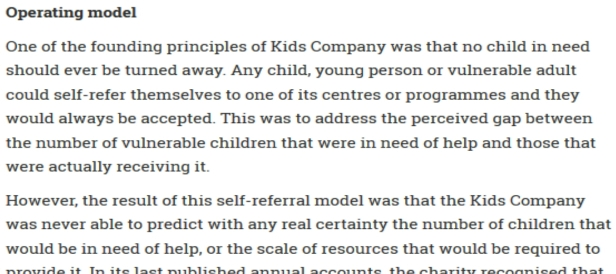 Extract on Kids Company's operating model